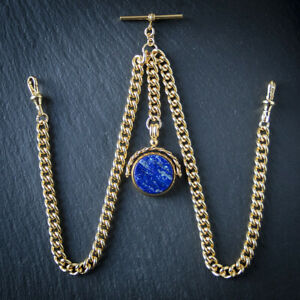 PVD Gold Double Albert Chain with Lapis Lazuli Spinner Fob for Pocket Watch