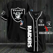 Raiders Baseball Line Personalized Name Baseball Jersey Black