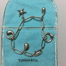 Tiffany & Co Elsa Peretti 5 charm sterling silver 925 bracelet rare and genuine