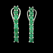 Sterling Silver Genuine Natural Square Cut Green Emerald Stick Earrings