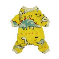 Fitwarm Yellow Dinosaur Dog Pajamas Pet Clothes Cotton Jumpsuit Soft Shirt S M L