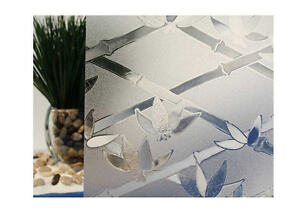 """Clear Bamboo Flowers Cut Glass Static Cling Window Film, 35"""" Wide x 9 ft"""