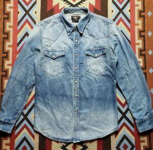 RRL Ralph Lauren Double RL Distressed Denim Western Shirt L
