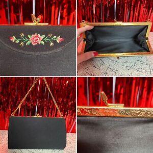 Vintage 50s 60s Black Evening Bag With Rose