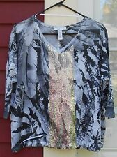 STYLE & CO. New With Tags 3/4 Sleeved V Neck Sequin Polyester Top Size Small