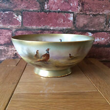 Magnificent Rare 1900 Royal Worcester Pheasant Gilt Footed Bowl By Jas Stinton