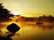 ROWING BOAT ON A MISTY MORNING PHOTO FINE ART PRINT POSTER HOME DECOR BMP026B