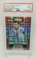 2018 Panini Prizm World Cup Red Mosaic Prizm Lionel Messi #1 PSA 9 MINT