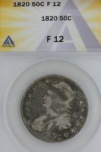 1820   50C  F 12   ANACS  --   Capped Bust Half Dollar, Miss Liberty