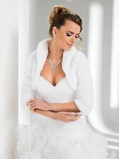 Women Wedding Soft Mink Faux Fur Bolero Jacket with Three Quarter Sleeve B-26T