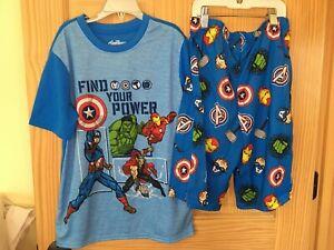 New Marvel Avengers Boys 2-Piece Pajama Set Captain America Hulk Iron Man