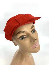 Vintage 1950s Red Felt Robinson's California Skull Cap Hat w/ Bow