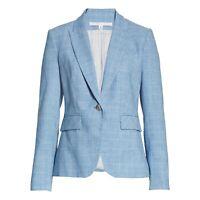 Veronica Beard Blue Plaid Cotton Blend Linen Dickey Blazer Jacket Women's Size 6