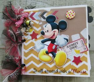 Handmade Premade Disney Vacation Paper Bag Mini Scrapbook Photo Album