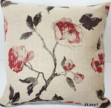 "John Lewis Retro Vintage Cushion Cover LINEN ROSES Fabric 20"" Double Sided"