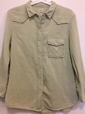 Aritzia Wilfred Free Women's Medium Top Blouse Light Green Cotton Button Up