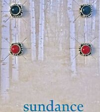 NEW $54 Sundance Catalog 2x Red & Black Onyx Sterling Silver Earrings Post Stud