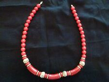 """TRIFARI -  Single Strand Necklace - Red beads with gold seperators - 17 1/2"""""""
