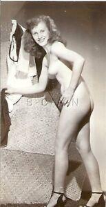 Original Vintage 1940s-50s Nude Sepia RP- Legs- Heels- Young Woman Holds Panties