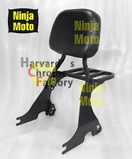 Black Detachable Sissy Bar Backrest with Luggage Rack Sportster XL883 1200 04-up