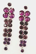 Exquisite Purple Crystals Waterfall Drop Style Dangle Stud Long Earrings