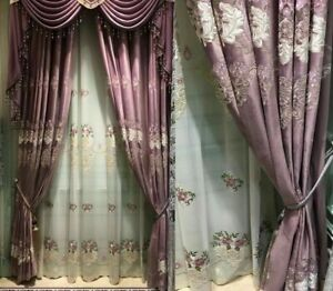 Window Curtains Velvet Embroidered Floral European Style Ceiling Decorations New