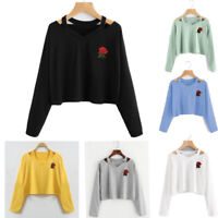 New Arrival Women Crop Top Sweatshirt Casual Pullover Long Sleeve Blouse Shirt