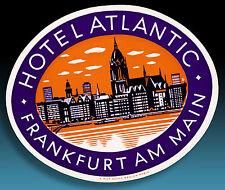 ALTER KOFFERAUFKLEBER LUGGAGE LABEL 50er HOTEL ATLANTIC FRANKFURT AM MAIN *SCHÖN