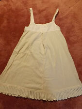 Vtg Antique Edwardian IVORY Lace WOVEN FABRIC Wool? FULL SLIP PETTICOAT 29 Bust