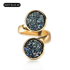 Women Lady Gold Finger Band Ring Fire Moon Stone Wedding Open Adjustable Jewelry