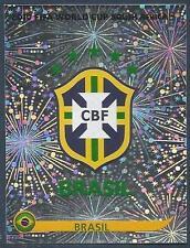 PANINI-SOUTH AFRICA 2010 WORLD CUP- #487-BRASIL/BRAZIL TEAM BADGE-SILVER FOIL