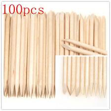 Orange Wood Nail Art Stick Cuticle Pusher Remover Pedicure Manicure Tool 100Pcs