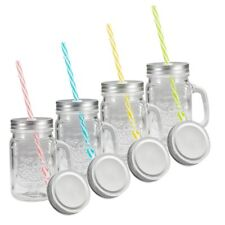 Tosnail 15 Oz. Mason Jar Mugs with Handle, Tin Lid and Plastic Straws - Old
