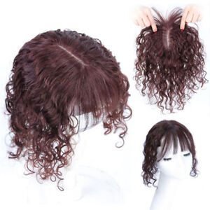 Women Natural Curly Wavy Remy Human Hair With Flat Bangs Wiglet Clips Top Piece