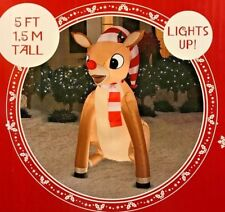 NEW 5 FT TALL RUDOLPH THE RED NOSED REINDEER - HAT & SCARF INFLATABLE BY GEMMY