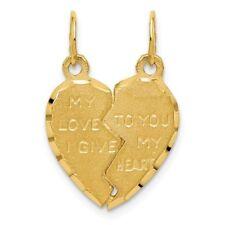 Ladies 14K Yellow Gold Break Apart Heart-Shaped Couple Love Charm Pendant - 22mm