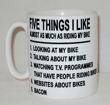 5 Things I COMME AS MUCH AS Riding Mon Moto Tasse peut personnalisé cinq Bacon