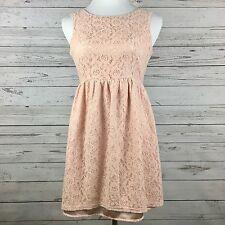 Forever 21 Womens Dress Size Medium Pink Floral Lace Sleeveless Romantic Boho