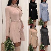 Women High Neck Zip Up Trench Coat Ladies Autumn Long Belt Casual Jacket Outwear