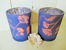Chic Set of Two Purple/Silver Grass Design Glass Votive Tealight Holders.Gift