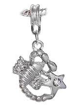 Zodiac Scorpio Scorpion Clear Rhinestone Dangle Bead fits Euro Charm Bracelets