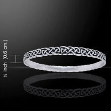 Celtic Knotwork .925 Sterling Silver Bangle Bracelet by Peter Stone Jewelry