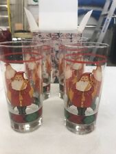 Block FATHER CHRISTMAS Set of 4, 15 ounce highball glasses (W7)