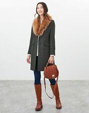 Joules Mujer Abrigo con ribete de piel Langley palangre-Verde Oscuro Tweed