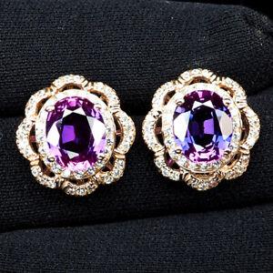Sapphire Blue Purple Oval 10.80 Ct. 925 Sterling Silver Rose Gold Earrings Women