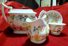 Museum Qual. Antique Pearlware English Porcelain Teapot/Part Set Chinoiserie