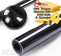 20ft x 5ft HIGH GLOSS 5D Black Carbon Fiber Vinyl Wrap Film Bubble Air Free 6D