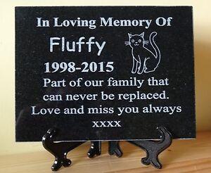 Personalised Engraved Pet Dog/Cat Natural Granite Memorial Plaque Grave Marker