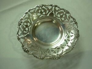 "VINTAGE CAIRO EGYPTIAN 900 SILVER 7"" ETCHED PIERCED RIM FOOTED BOWL"