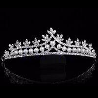 New Rhinestone Crystal Pearl Crown and Tiara Wedding Bridal Flower Veil Headband